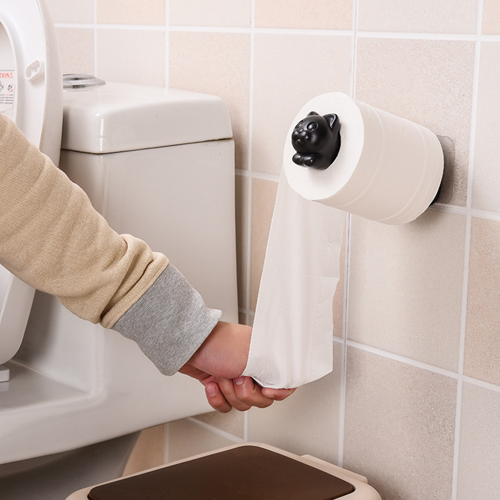 2019 New Cat Toilet Paper Holder Kitchen Roll Holder Towel Tissue Storage Rack Adhesive Wall Sticker Organizer Bathroom Hanger