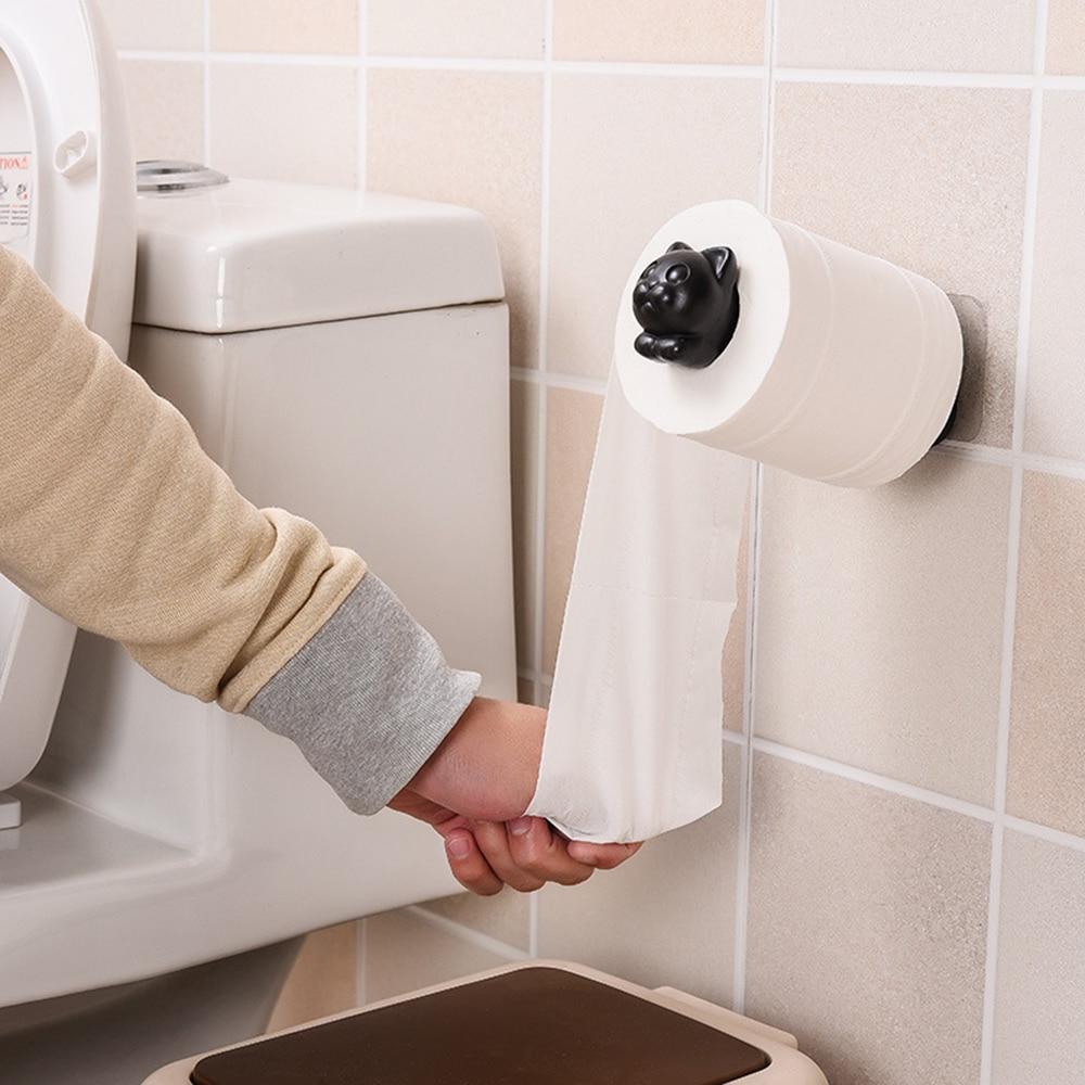 2019 New Cat Toilet Paper Holder Kitchen Roll Holder Towel Tissue Storage Rack Adhesive Wall Sticker Organizer Bathroom Hanger
