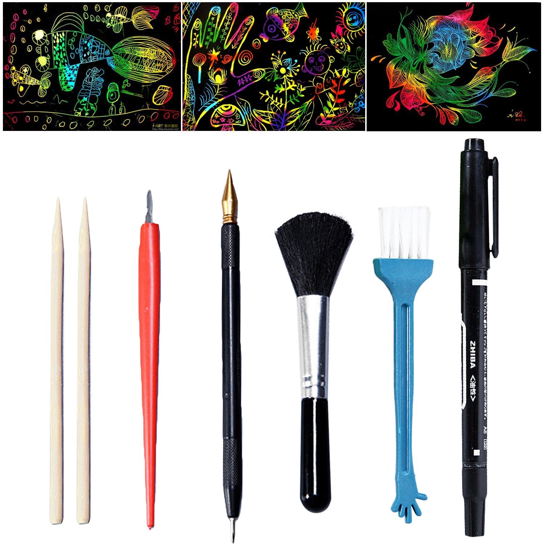 7PCS Magic Scratch Scraping Painting Tools Bamboo Sticks Scraper Repair Scratch Pen Black Brush DIY Painting Coloring Toy