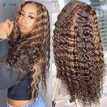 Allove destaque onda profunda peruca 13x6x1 mel loira destaque peruca cabelo humano parte do meio profunda encaracolado frente do laço perucas de cabelo humano