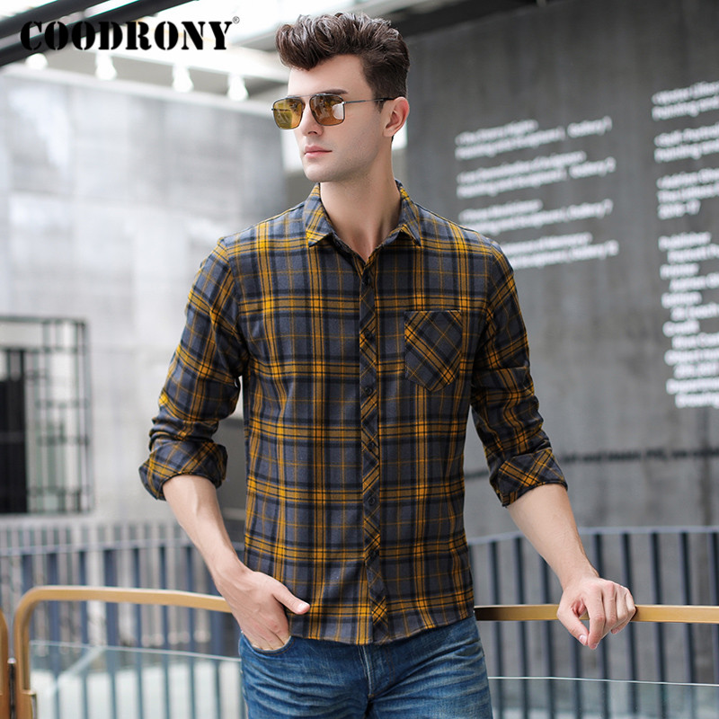 COODRONY Brand Long Sleeve Shirt Men Fashion Plaid Mens Shirts Spring Autumn Business Dress Casual Camisa Masculina Pocket C6002