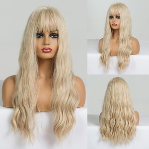 Image 4 - EASIHAIR Long Brown Wave Wigs with Bangs Synthetic Glueless Wigs High Temperature Natural Hair Wig For Black Women Cosplay Wigs
