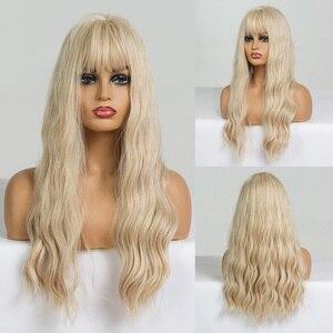 Image 4 - EASIHAIR pelucas onduladas de pelo largo para mujeres negras postizo de pelo largo marrón con flequillo sintético sin pegamento, Peluca de pelo Natural de alta temperatura para Cosplay