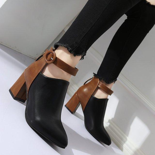 Фото женские туфли на танкетке mudibear черные массивном каблуке