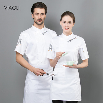 4 colors Food Service restaurant catering chef Workwear M-4XL high quality chef uniforms short sleeved embroidery Chef Jackets
