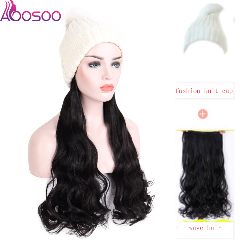 AOOSOO Fashion New Long wave Wig with Elastic Knit Hat Wigs Heat Resistant Synthetic Natural Fake Hair Wigs for Women winter