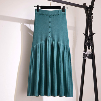 Winter Autumn 2019 Skirts Womens Knitting Wool Pleated Long Skirt Buttons High Waist Elastic Large Hem Saia Midi Skirts 4