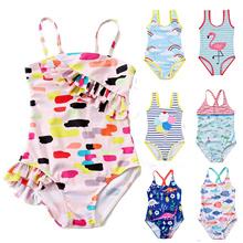 Children #8217 s Swimwear 2020 Summer New Swimwear Girls Children #8217 s Straps Cute Printed Swimwear One-piece Swimsuit cheap COTTON Baby Girls One Pieces Fits true to size take your normal size