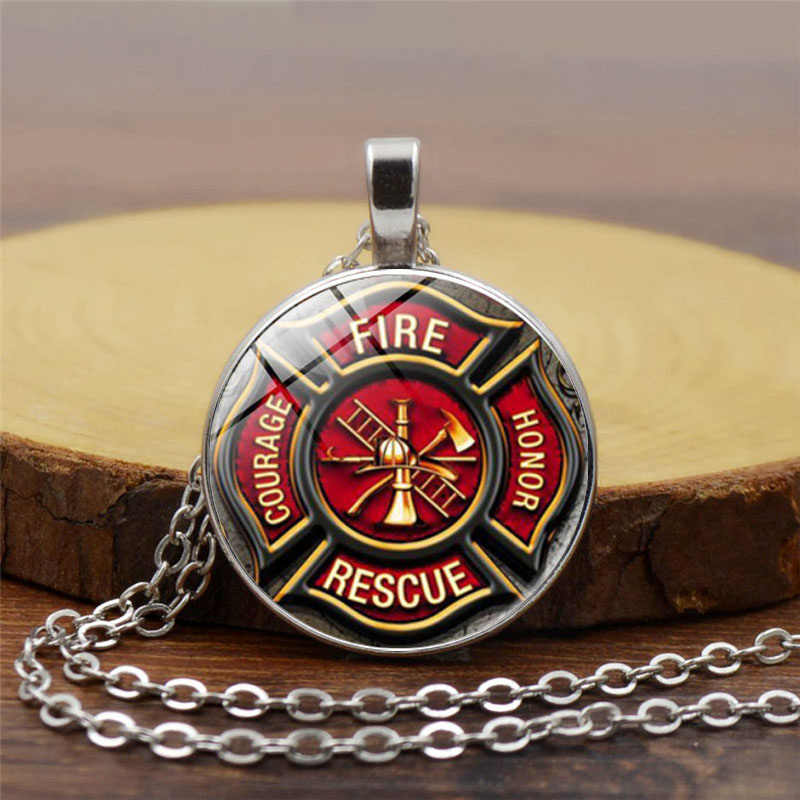 Rescue Firefighter Necklace Fire Fighter Pendant Fireman Jewelry Fire Department Pendant Necklace Glass Cabochon Silver Jewery