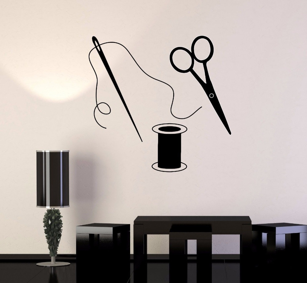 Scissors Wall Stickers Sewing Tailor Wall Decals For Fabric Sewing Room Removable Vinyl Art Mural Home Decor