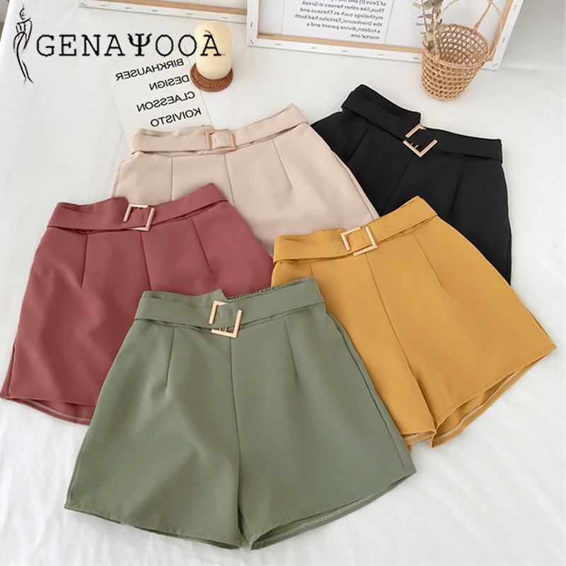 Genayooa Office Elastic Waist Shorts Women Mini High Waist Shorts with Belt Wide Leg Summer 2020 Harajuku Korean Short Feminino