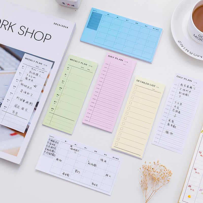 30 Lembar Meja Mingguan Daily Planner Kartun Lengket Catatan Stiker Kertas Korea Alat Tulis untuk Daftar Alat Kantor Lengket Memo