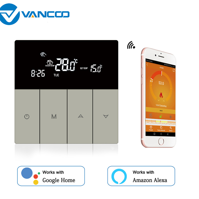 New Wifi Thermostat For Gas Boiler 220V Powered Weekly Programmable Work With -Google Home Alexa