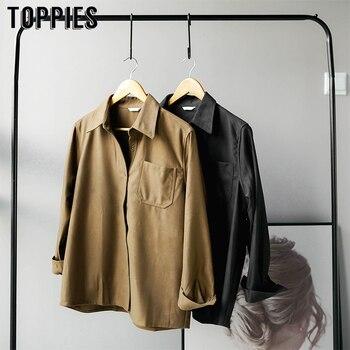 Vintage Langarm Shirts Frauen Revers Tops Koreanische Mode Damen Tops Taste Unten Streetwear