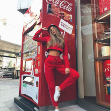 Ropa Deportiva Mujer Fall Clothes Hooded 2019 Two Piece Set Crop Top And Pants Tracksuit Women Suit Jogging Sport Matching Sets