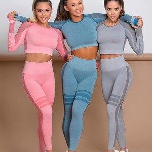 Женский бесшовный комплект для йоги, спортивные костюмы для фитнеса, одежда для спортзала, футболки для йоги с длинным рукавом, высокая тали...