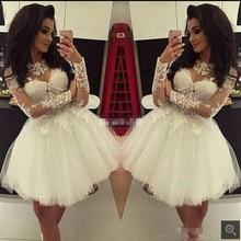 Recién llegado apliques de encaje blanco una línea de vestido de novia corto de manga larga con cuentas petite informal modest vestidos de novia más vendidos