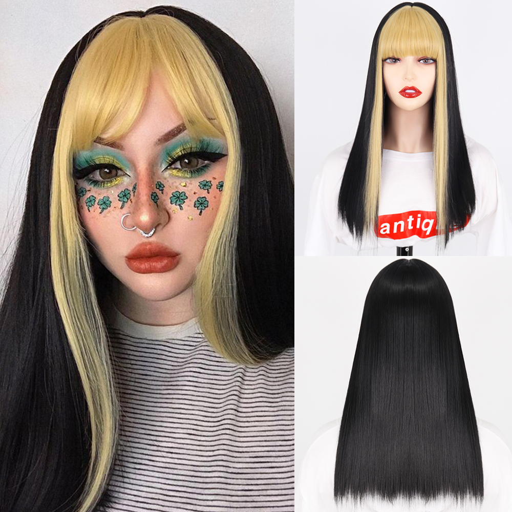 Black Long Straight Wig For Women Both sides Gold Hair Middle Part with bangs Heat Resistant Wavy Cosplay Wig For Girl
