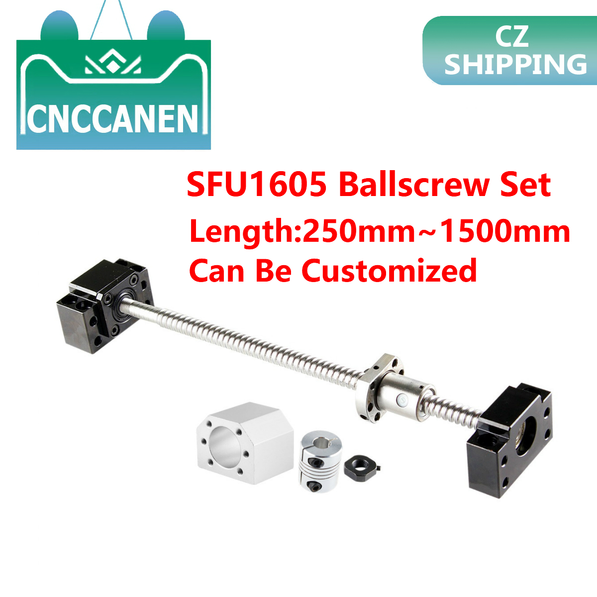 SFU1605 Rolled Ball Screw C7 End Machined + Nut Housing BK/BF12 End Support + Coupler RM1605 Ballscrew Set CZ Stock