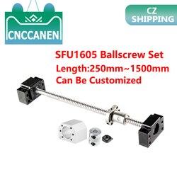 SFU1605 tornillo de bola enrollado C7 extremo mecanizado + carcasa de tuerca BK/BF12 soporte de extremo + acoplador RM1605 juego de husillo CZ Stock