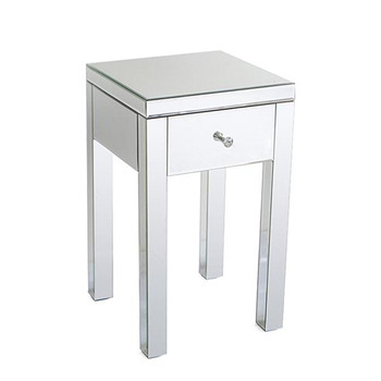 Modern and Contemporary Small 1 Drawer Mirrored Nightstand Bedside Table Coffee Tea Table Home Living Room Storage Rack mc2102b modern living room furniture marble top tea table coffee table with drawer