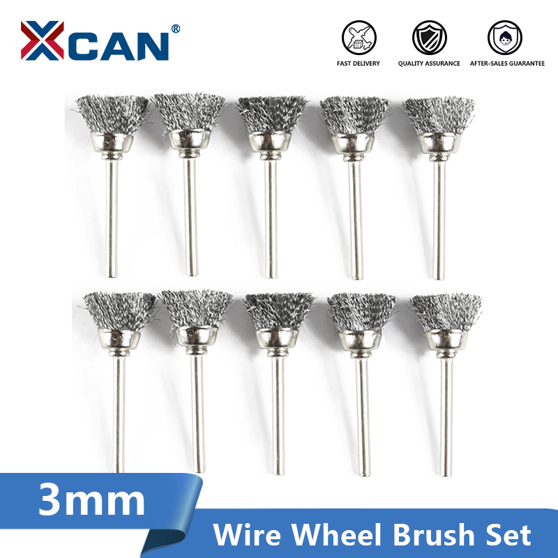 XCAN Polishing Wheel Brush 10pcs 3.mm Shank Wire Brush For Dremel Rotary Tools Accessories