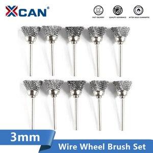 Image 1 - XCAN cepillo de rueda de pulido, 10 Uds., cepillo de alambre de vástago de 3,mm para herramientas rotativas Dremel, accesorios