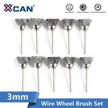 XCAN parlatma tekerleği fırça 10 adet 3.mm saplı tel fırça Dremel döner araçları için aksesuarları