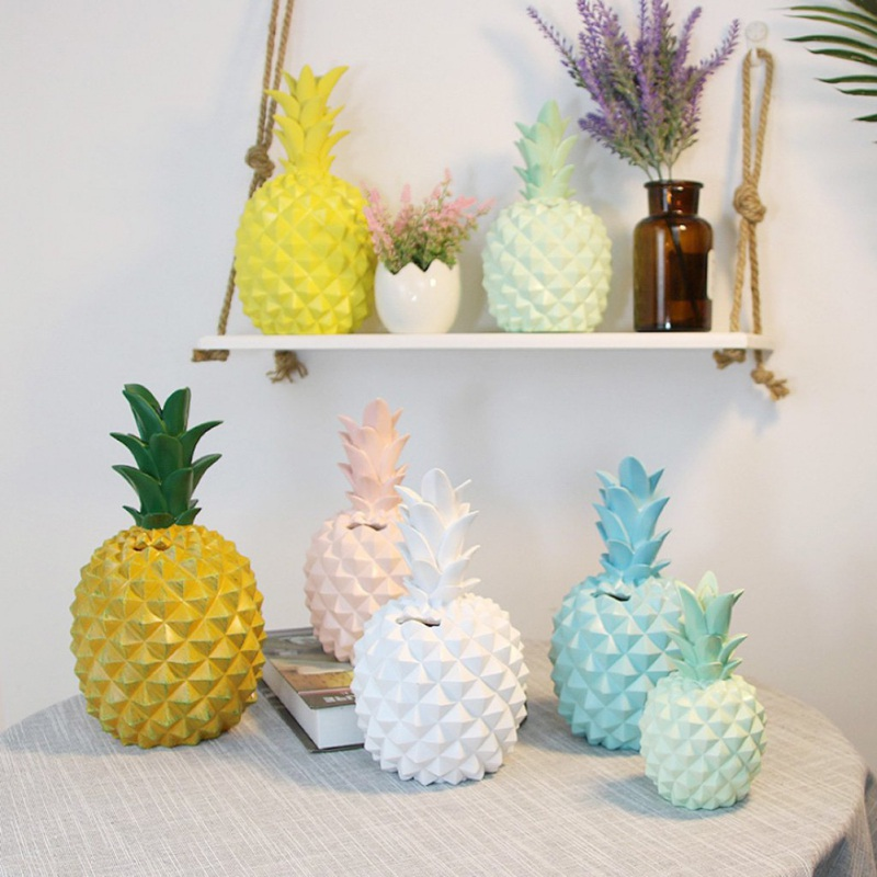 Household DIY Resin Pineapple Piggy Bank Decoration Crafts With Money Storage Function Money Storage BoxFor Home Decoration