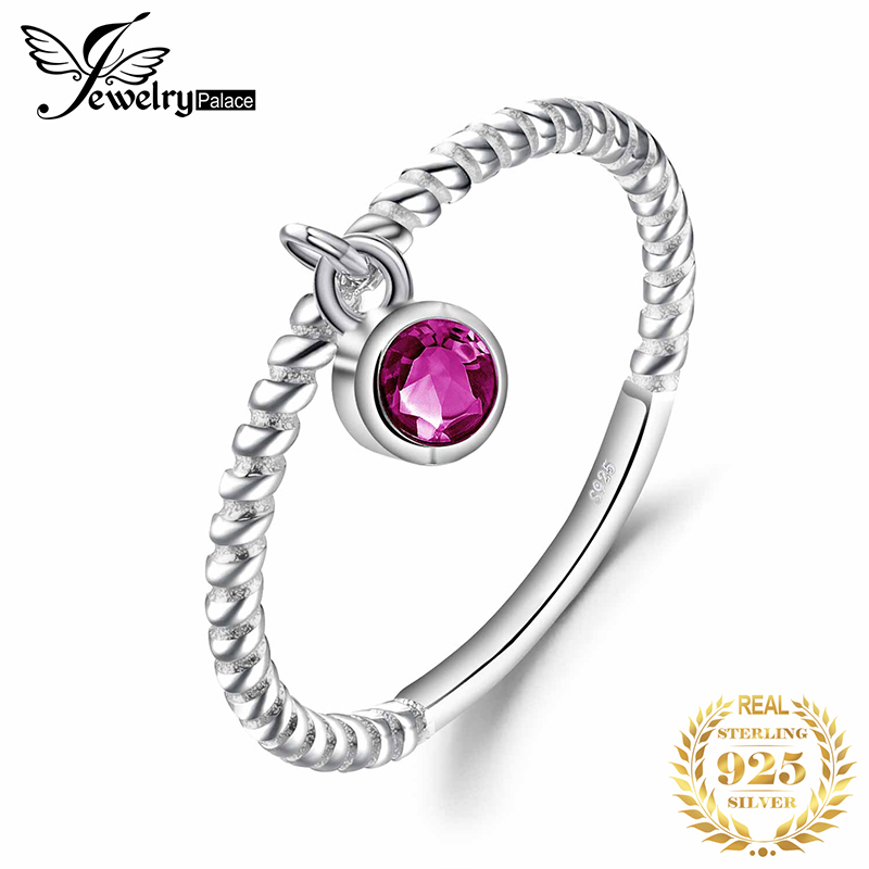 JewelryPalace Created Ruby Ring 925 Sterling Silver Rings For Women Party Rope Band Stackable Ring Silver 925 Gemstones Jewelry