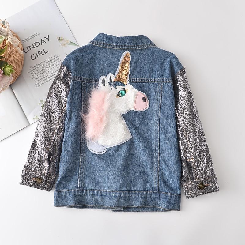 2 3 4 5 6 7 Year Toddler Girl Denim Coat Spring Fall Sequined Sleeve Kids Jackets for Girl Unicorn Pattern Children Outerwear