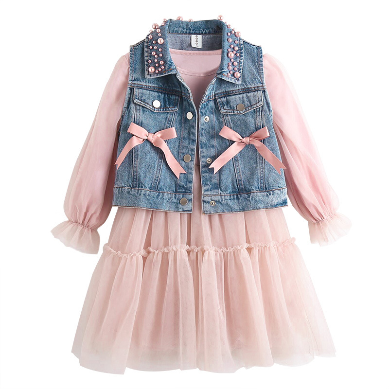 2pcs Toddler Girls Lace Dress+Denim Jacket Kids Sleeveless Floral Mesh Wedding Dresses Children Clothing For Baby Girls 3 To 12