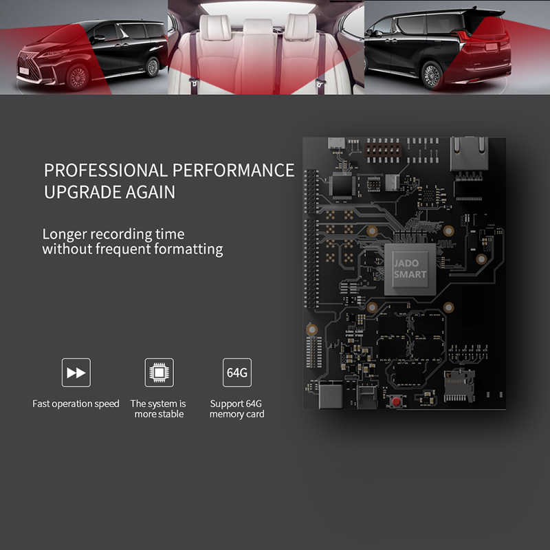 ג 'אדו D350S נהיגה מקליט קדמי ואחורי 1080P ראיית לילה hd שלוש-שיא wifi חיבור 360 ° פנורמה 24 שעות ניטור