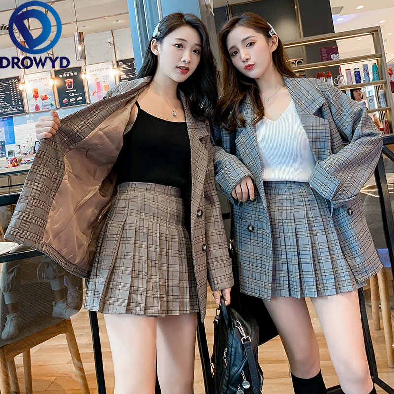 Women Skirt Suits Long Sleeve Blazer and Skirt Two Pieces Set Office Ladies Fashion New Plaid Pleated Plus Size Formal Work Wear