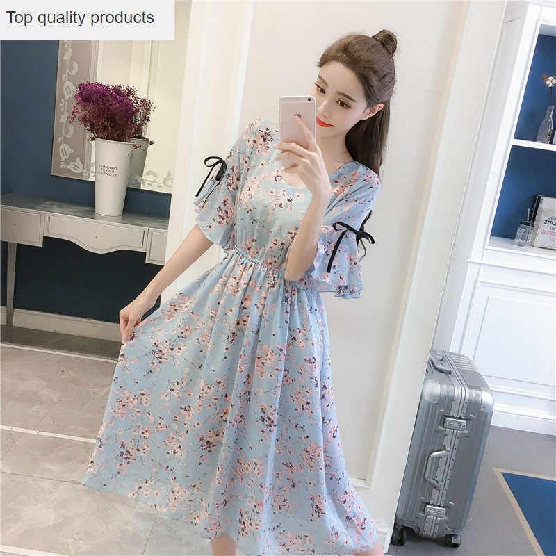 2020 새로운 여성 여름 드레스 패션 MCasual 기질 달콤한 꽃 대형 느슨한 v-목 짧은 소매 여성 드레스 CW652