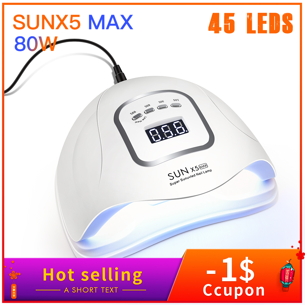 80W UV Lamp LED Nail Lamp Nail Dryer For Curing Nail Gel Polish Sun Light Manicure Machine Timer Button Sensor Nail Art Tools