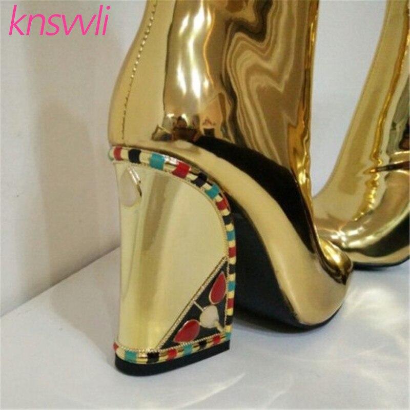 Knsvvli nouvelles bottes de piste strass Chunky talons hauts bottines femmes or miroir Surface chaussures d'hiver femme Chelsea bottes - 6