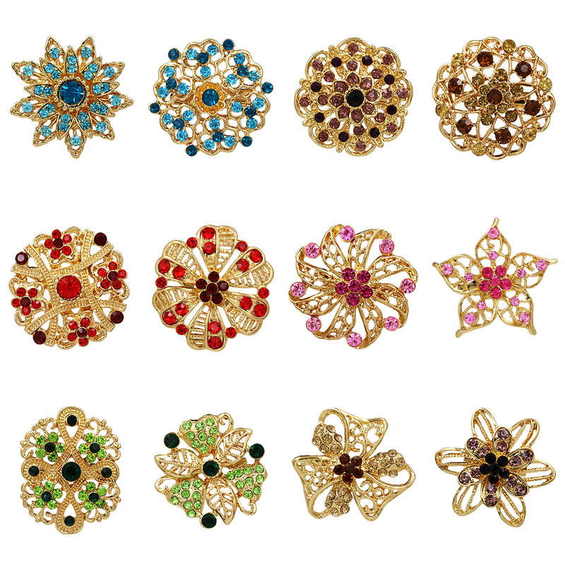 Lot 12pc Clear Rhinestone Crystal Flower Brooches Pins Set DIY Wedding Bouquet Broaches Kit