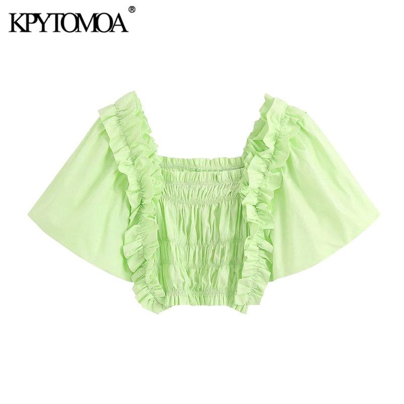 KPYTOMOA Women 2020 Fashion Ruffles Smocked Cropped Blouses Vintage Square Collar Puff Sleeve Female Shirts Blusas Chic Tops