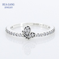 2019 New Authentic 925 Sterling Silver Love Flower Butterfly Ring Original For Women Wedding DIY Jewelry Birthday Gift 197948CZ