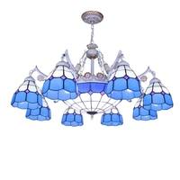 8 light tiffany chandelier blue white glass shade antique bronze finish E27/E26 ceramic lamp holder bohemian foyer chandelier