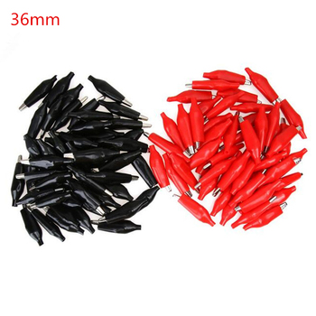 50pcs/lot 36mm Metal Alligator Clip  Crocodile Electrical Clamp for Testing Probe Meter Black and Red with Plastic Boot 50pcs 100pcs single handle alligator clip nickel plating 50mm iron clamp for testing electric probe meter crocodile clip