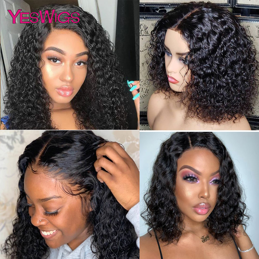 Yeswigs Curly Human Hair Wig With Baby Hair 13x4 Bob Lace Front Wigs Pre Plucked Short Long Remy Peruvian Lace Frontal Wig Afro