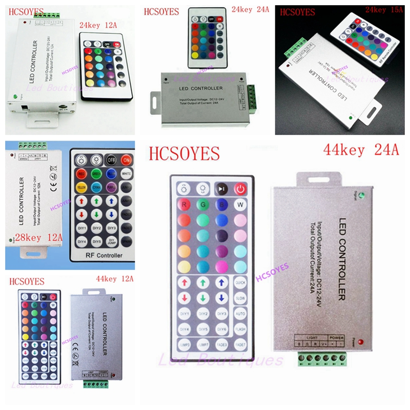 DC12-24V 24key 44key 28key 12A/24A/15A IR RF Remote Wireless RGB Led Controller Aluminum+plastic 3CH 5A  For 5050 3528 Strip