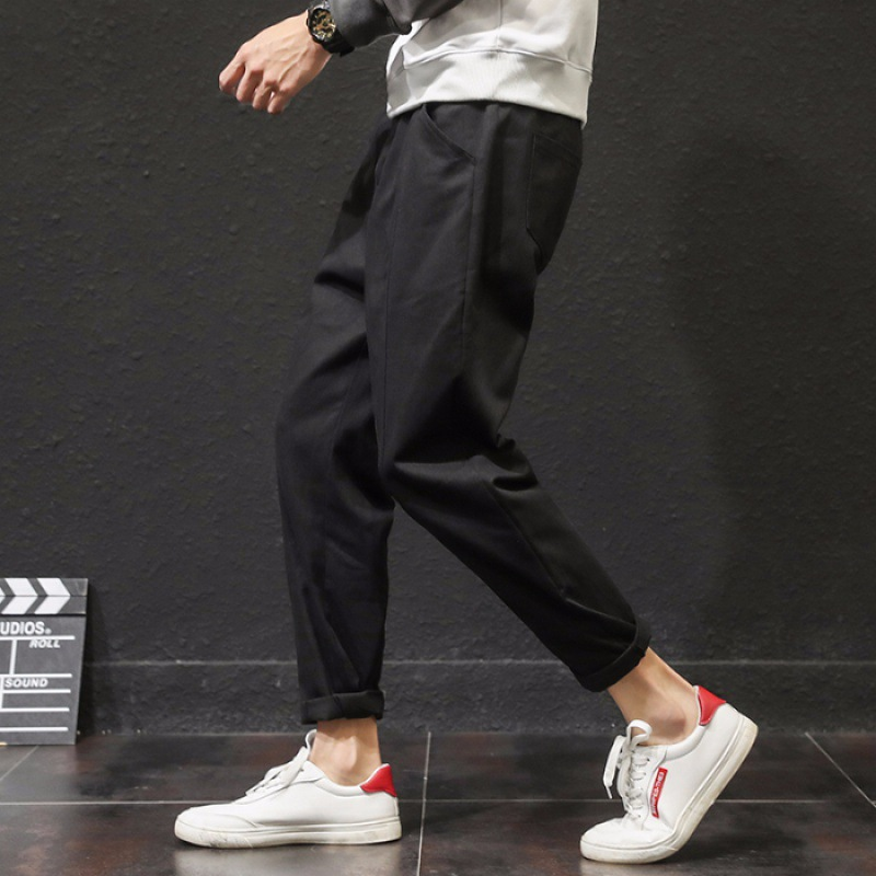 New Style Loose-Fit Popular Brand Black And White With Pattern Loose Pants Straight-Cut Retro Versatile Jeans Men's INS Korean-s
