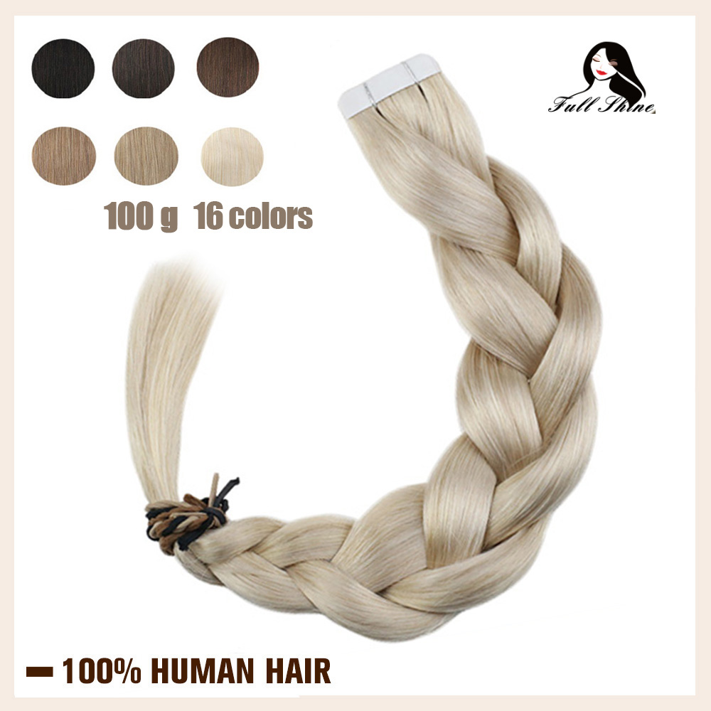 Full Shine Tape In Human Hair Extensions Pure Color 100g 40Pcs Blonde Straight Adhesive Glue On Hair Machine Remy Hair
