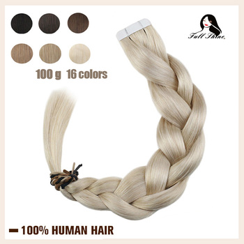 цена на Full Shine Tape in Human Hair Extensions Pure Color 100g 40Pcs Blonde Straight Adhesive Glue on Hair Machine Remy Hair