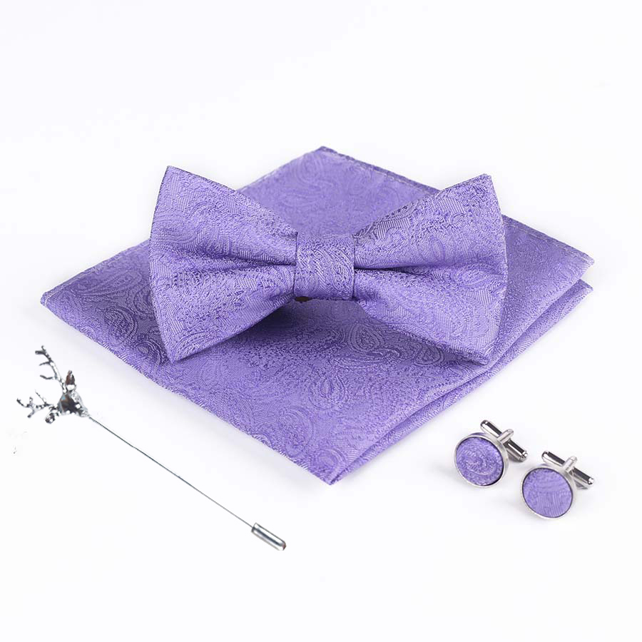 Bridegroom Wedding Party Business Men Tuxedo Suit Purple Violet White Pocket Square Towel Handkerchief Cuff Links Bow Tie Set