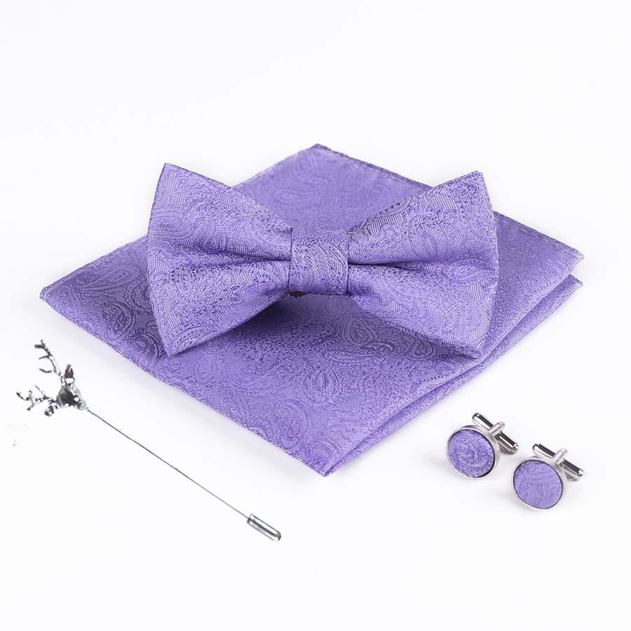 Bridegroom Wedding Party Business Men Tuxedo Suit Purple Violet White Pocket Square Towel Handkerchief Cuff Links Bow Tie Set