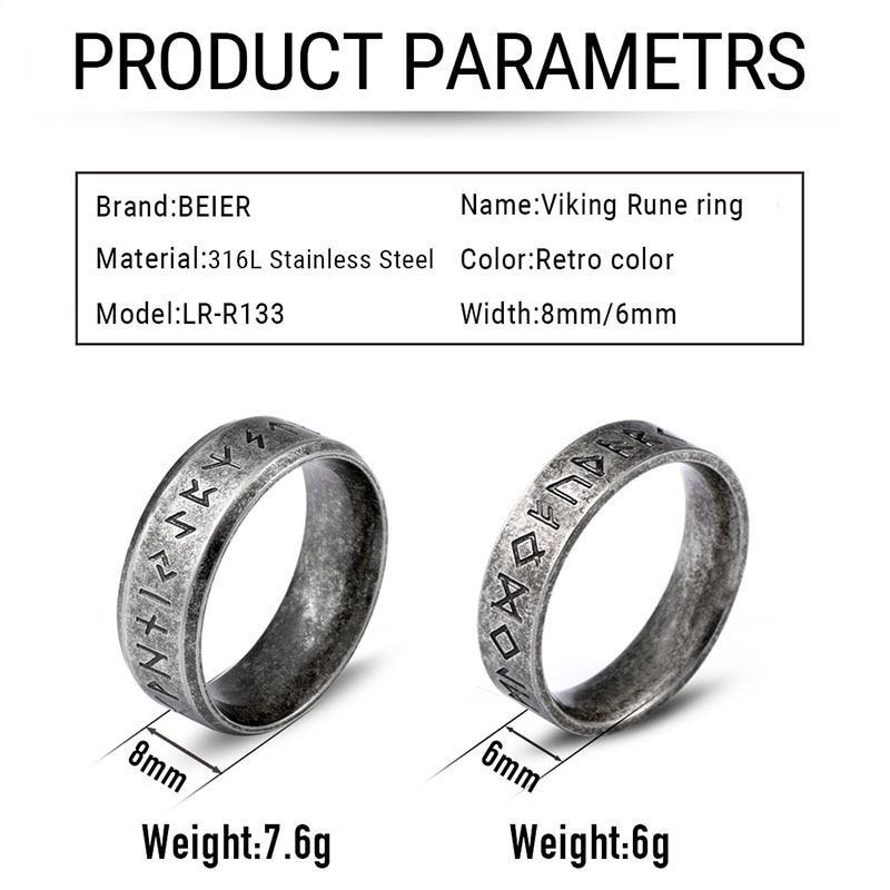 Beier acciaio inossidabile odino norreno vichingo amuleto runa uomini anello moda parole gioielli retrò LR-R133 2